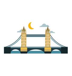 Modern bridge flat pictogram business architecture vector