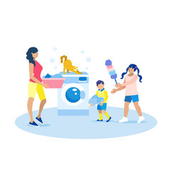 Mother and children doing housework vector