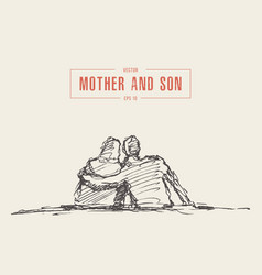 mother and son sit hugging hand draw sketch vector image