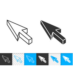 Mouse cursor simple black line icon vector