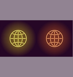 neon icon of yellow and orange globe vector image