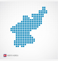 north korea map and flag icon vector image