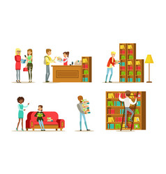 people in library set visitors and students vector image