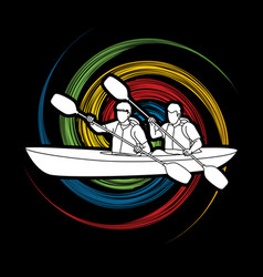 People kayaking kayaker sport team kayak boat vector