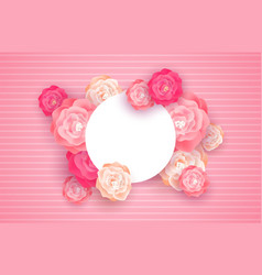 pink spring flower card template with copy space vector image