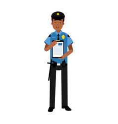 Policeman character in a blue uniform holding vector