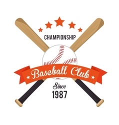Poster baseball crossed bats and ball stars vector