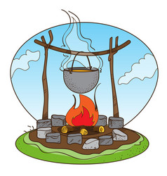 Pot on the fire logo picnic tourism travel vector