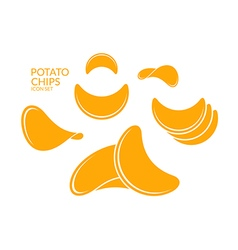 Potato chips Icon set vector image