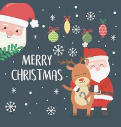 santa and reindeer hugging balls candy cane vector image