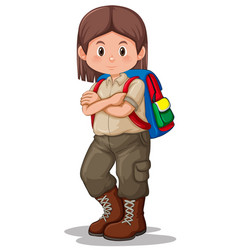 Scout girl with backpack vector