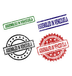 scratched textured assembled in venezuela seal vector image