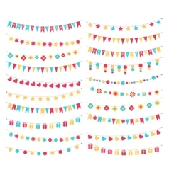 set of birthday buntings and garlands vector image