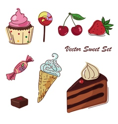 set of sweets drawing vector image