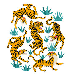 Set of tigers and tropical leaves trendy vector