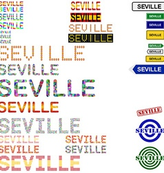 Seville text design set vector