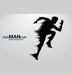 silhouette a running man vector image