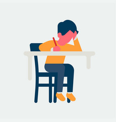 Small kid studying behind desk vector