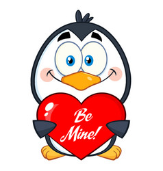 Smiling penguin holding a be mine valentine heart vector