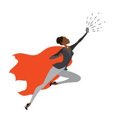 Super hero african american woman in fly vector