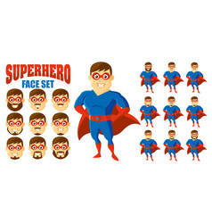 superhero face set cartoon character vector image