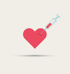 syringe in the heart isolated abstract icon vector image