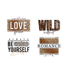 t-shirt design with leopard print slogan vector image