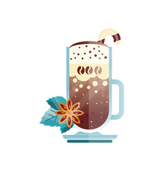Tasty coffee drink with candy cane star anise and vector