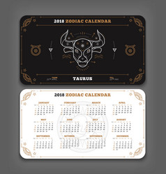 Taurus 2018 year zodiac calendar pocket size vector
