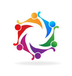 teamwork people embracing each other icon vector image