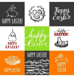 Template design cards with nest and Easter eggs vector