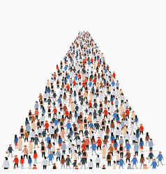 Template with a crowd business people standing vector