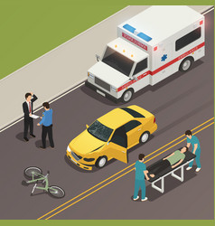 Traffic accident scene isometric composition vector