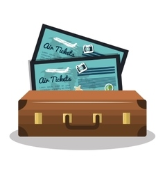 travel suitcase and ticket vacation design vector image