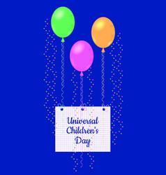Universal children day air balloons kept vector