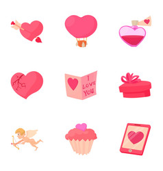 valentine day equipment icons set cartoon style vector image