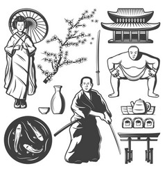 Vintage japan elements set vector