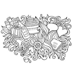 wedding hand drawn cartoon doodles funny design vector image
