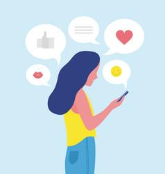 Woman or girl sending and receiving internet vector