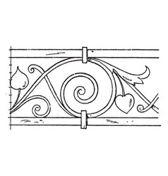 Wrought-iron undulate band is a design on a vector
