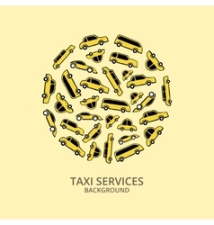 Yellow taxi cars in round shape vector