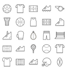 black thin line sport icons set vector image vector image