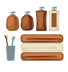 brown bottles and towels vector image vector image