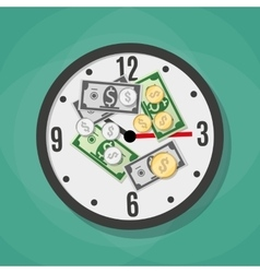 Office clock and Money vector image vector image