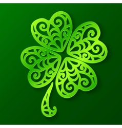 Ornate green cut out paper clover vector image