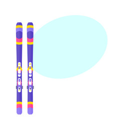 Pairs of skis flat isolated vector