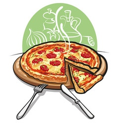 pizza with salami vector image vector image