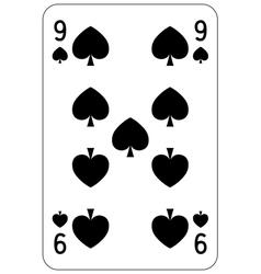 Poker playing card 9 spade vector