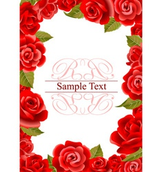 Red roses frame vector image vector image