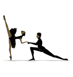 silhouette of duet young dancers vector image
